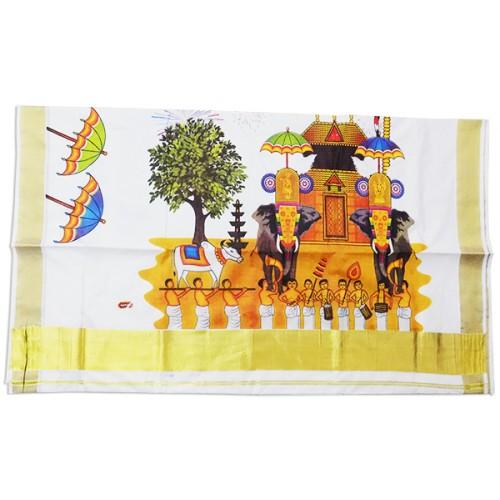 Kerala Utsav Mural Print Saree