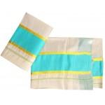 Women's Kerala Tissue Settu Kasavu Mundu With Multi Color