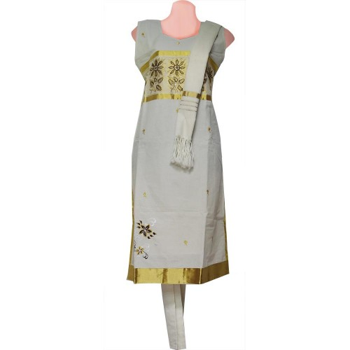 Kuthampully Traditional Embroidery Kasavu Churidar